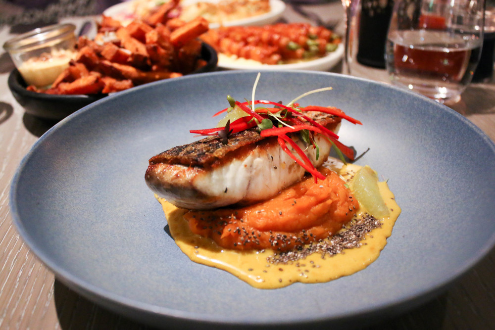Roasted Barramundi, Sweet Potato Puree, Lime and Coconut Sauce - $32