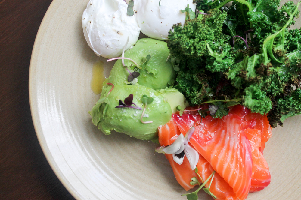 Smoked salmon, avocado, poached eggs, kale.