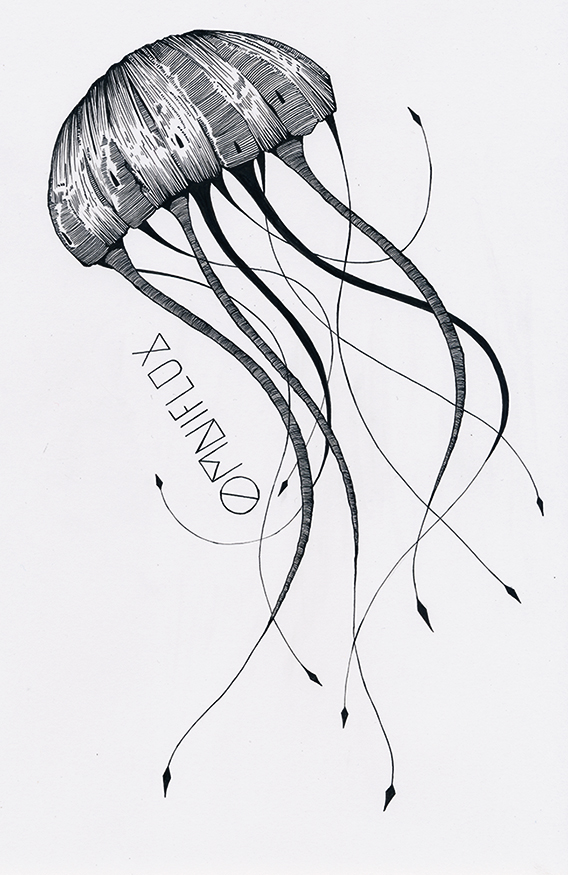 Loner Jellyfish ( T-shirt design for Omniflux)  Ink on paper.  2014