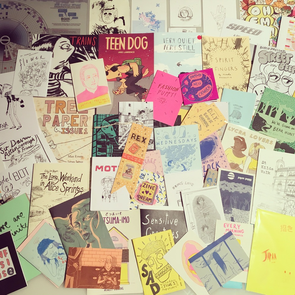 Look at all my pretty new zines! I got quite a haul from the over 150 stall holders.