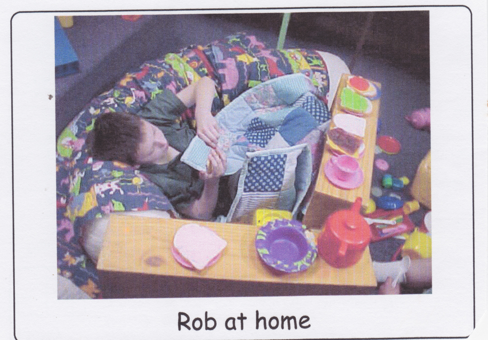 Although the caption from this school visual diary entry reads 'Rob at home', Rob is actually at school.