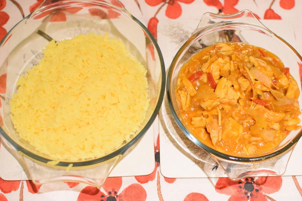 kuřecí směs a kari rýže