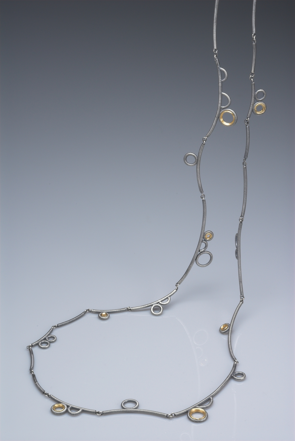 Silver necklace- oxidised silver and gold plate £440 @90cm long