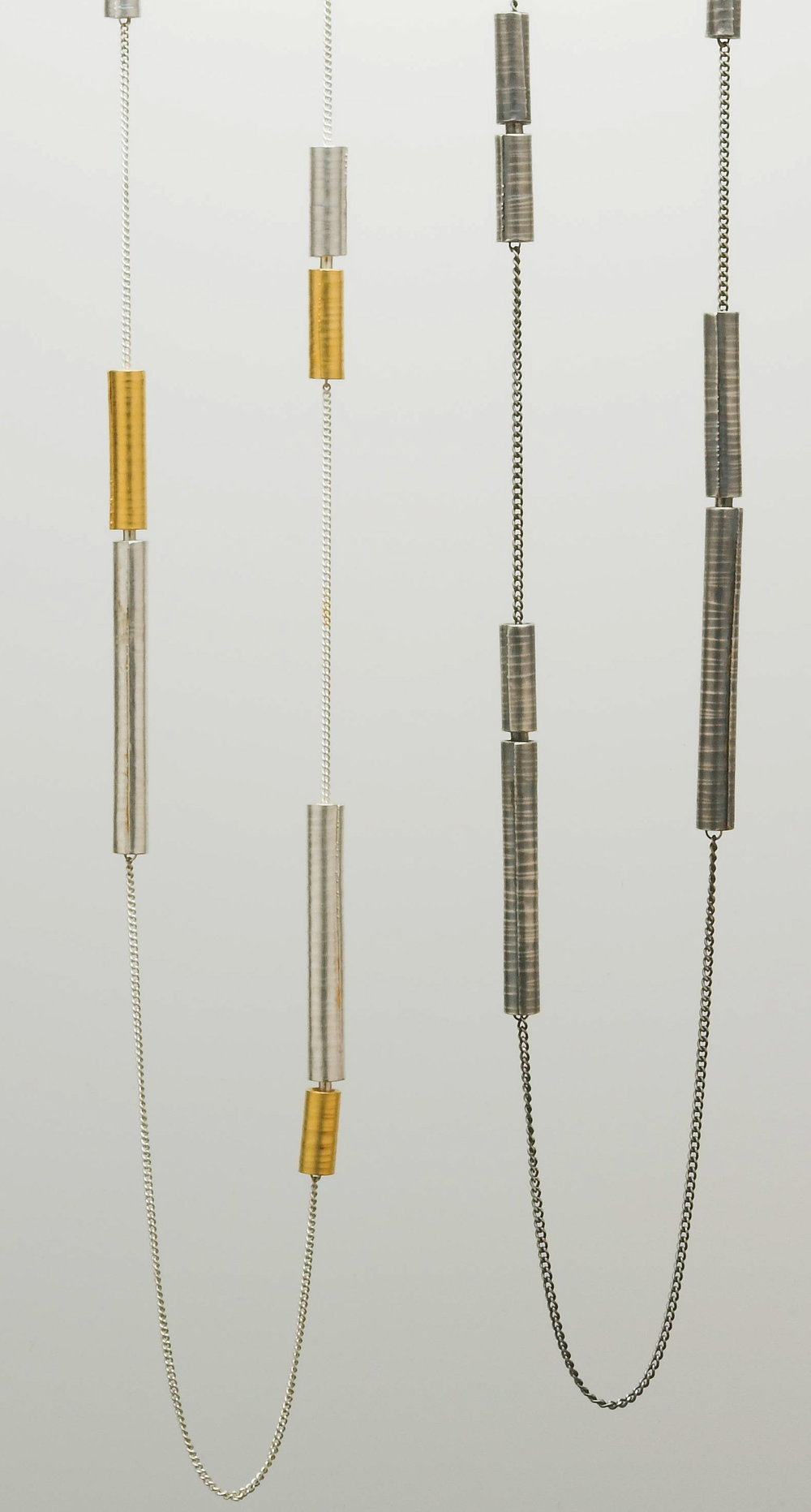 Long necklaces silver and gold plate £360-£390
