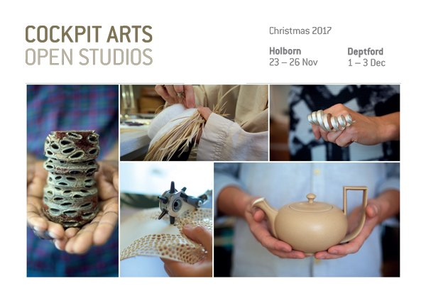 Cockpit Arts Christmas Open Studios Holborn    23rd-26th November  2017   Education Space , Cockpit Arts, Cockpit Yard, Northington St, London WC1N 2NP  Thursday 6-9pm,Friday, Saturday & Sunday 11-6pm   http://cockpitarts.com/shop-cockpit/open-studios/