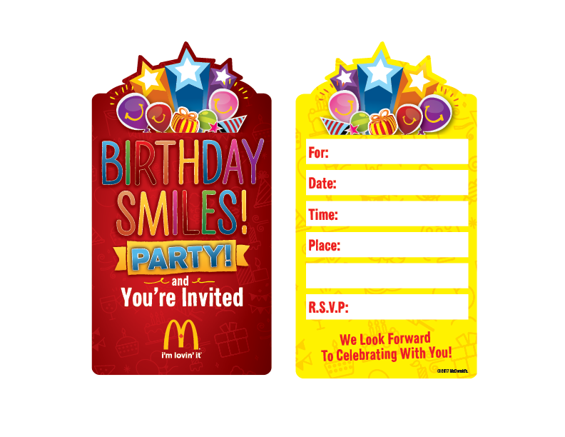 Mcdonalds Birthday Invitation Cards Gallery Invitation Templates