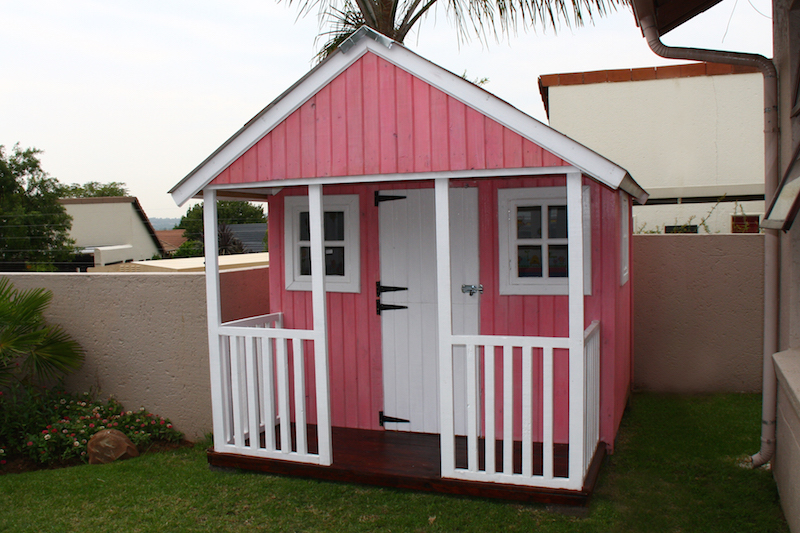 playhouse with pink wood sealant