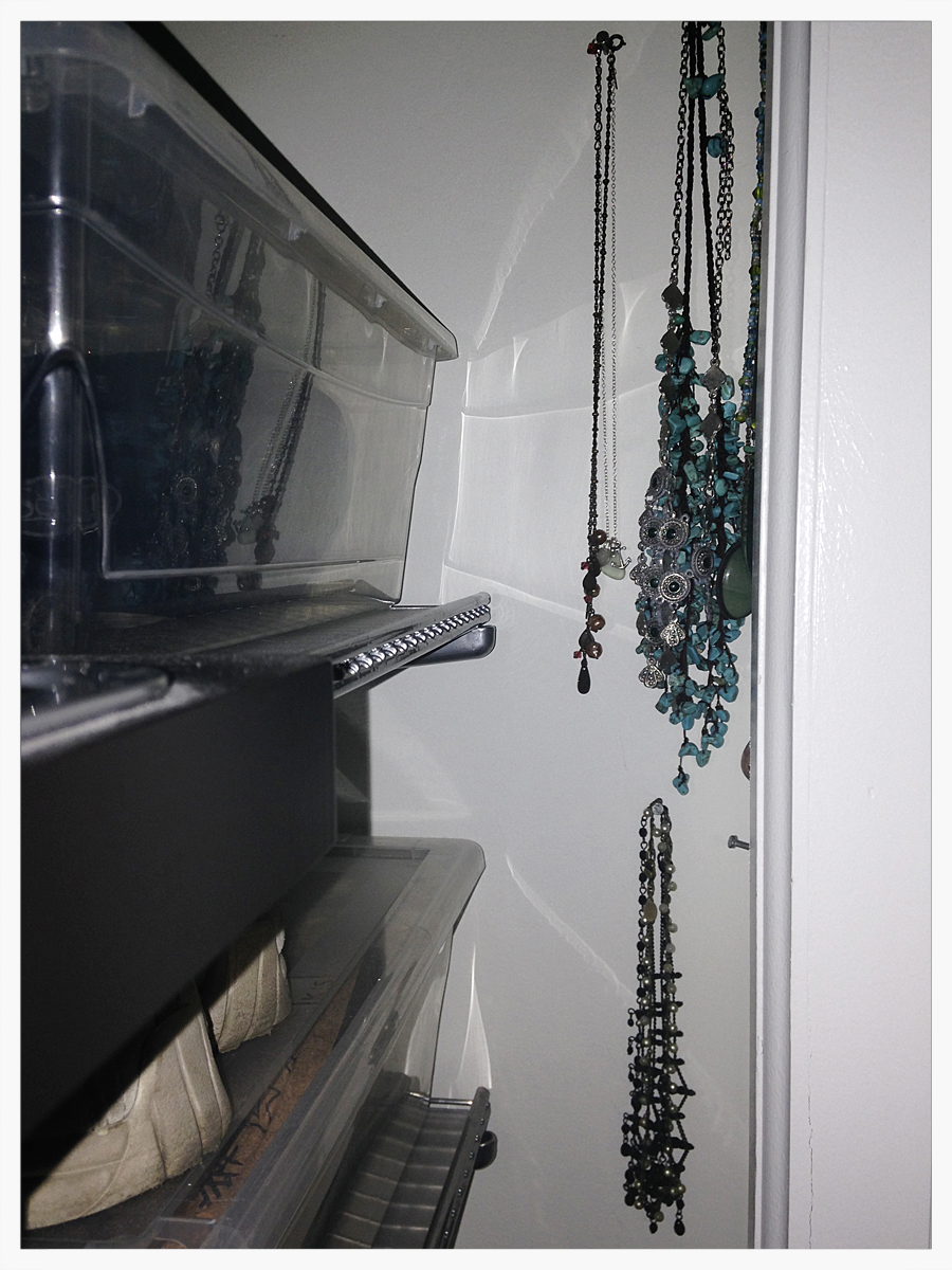 Before - My necklaces were hanging in my closet on nails. They were hard to get to and became tangled.