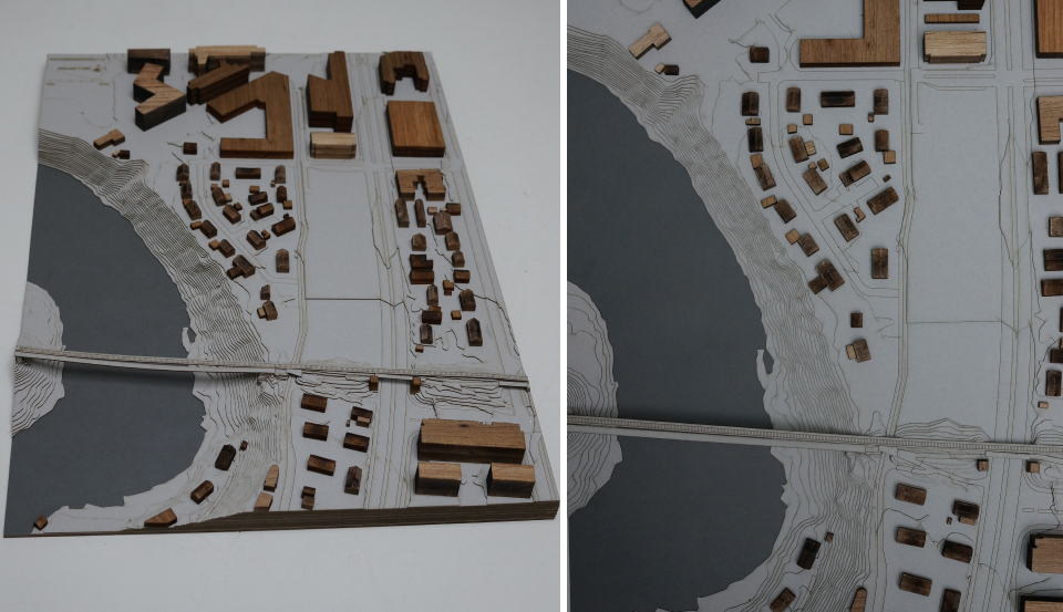MODEL Landscape + buildings SIZE 380 mm x 520 mm MATERIAL 1 mm cardboard + balsa SCALE 1:1000 WORK Cut + some engraving of information + lasercut/manual cut for the houses PRICE App. 70.000 NOK ex.vat