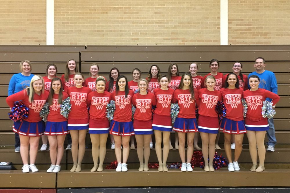 "The Adams Central Cheerleaders helping spread awareness by wearing their ""Dream Big"" shirts during the outing too!!"