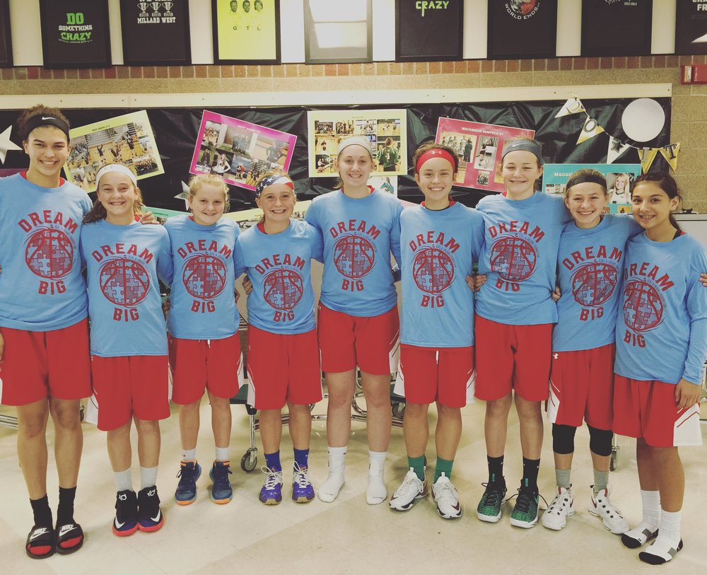 """No Limit"" travel basketball team wearing their cool looking Carolina Blue & Red ""Dream Big"" shirts!! Thanks so much!"