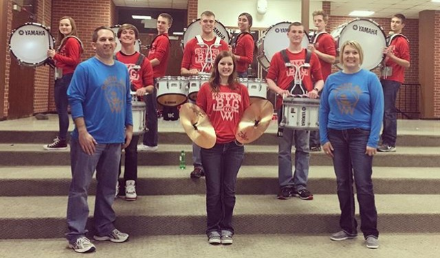 "Adams Central Drum Line rocking out & wearing our ""Dream Big"" shirts! One of the coolest things at all our outings was getting to listen to the drum line during halftime! Thanks for the support!"