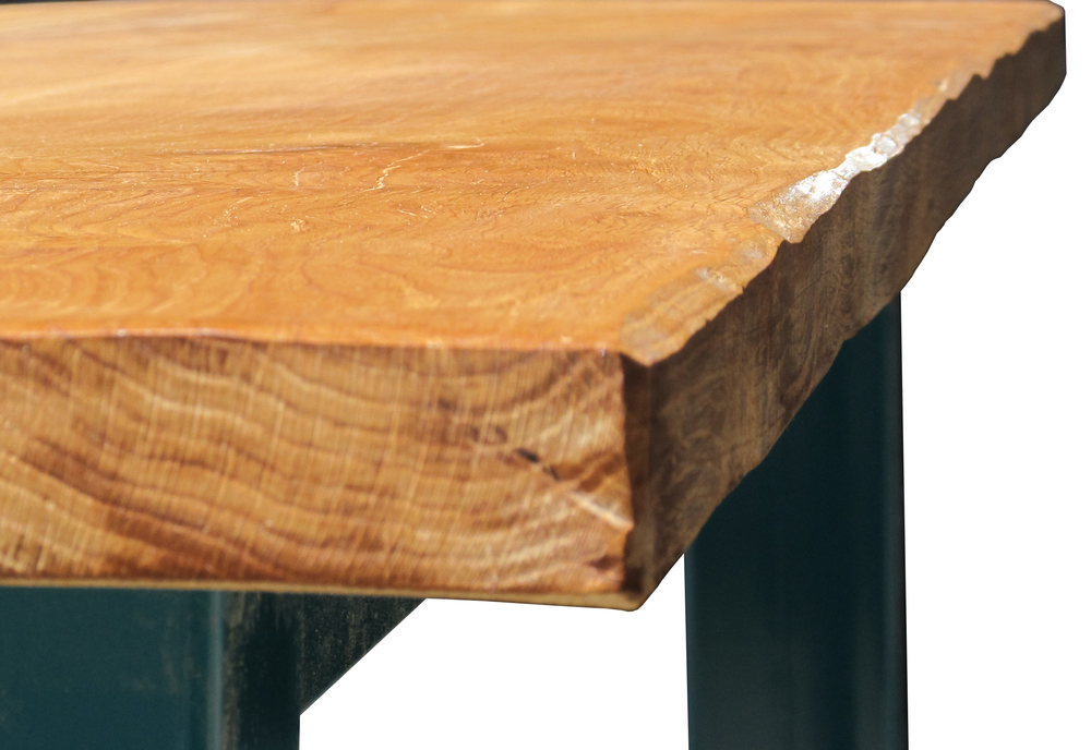 Oak & Iron Furniture - detail of our seasoned oak dining table top.
