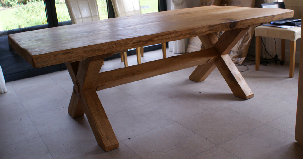 Oak & Iron Furniture finished oak dining table in customer's home