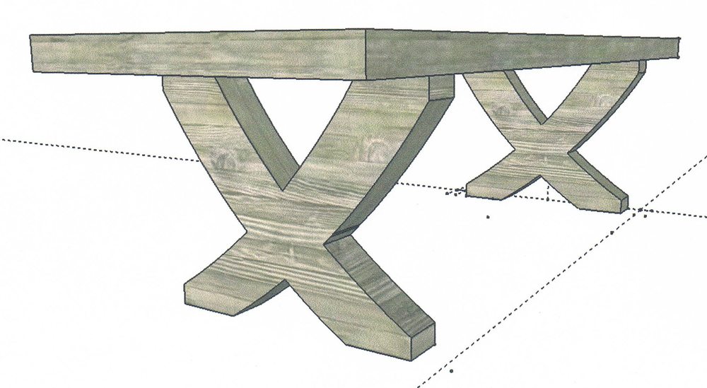Sketch of Swept Leg Oak Dining Table