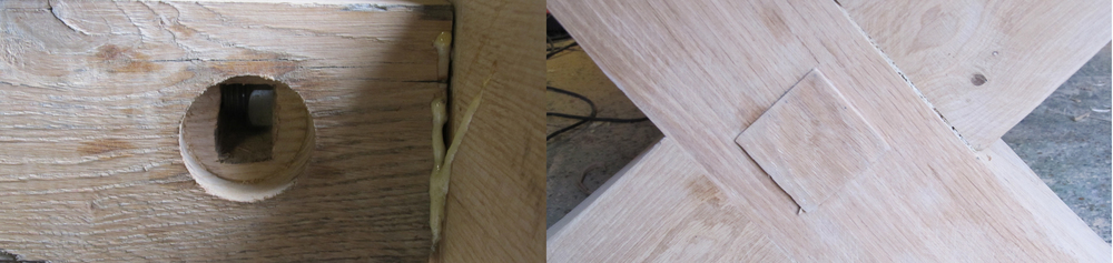 Oak & Iron Furniture - bolts which hold togther large bespoke X leg dining table