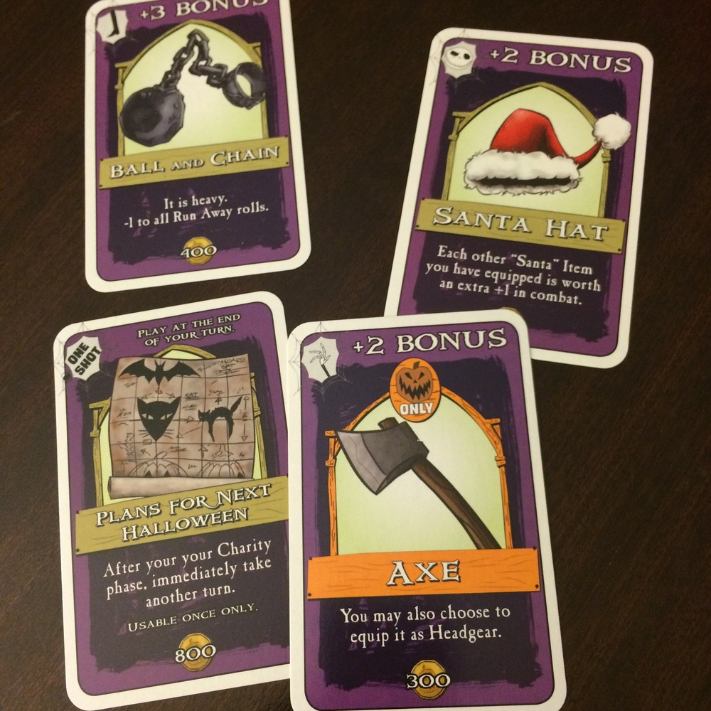 the theme is pulled off well and the random anything goes feel of nightmare before christmas world works well with the feel of munchkin its a really - Christmas Card Games