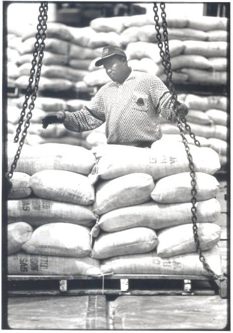 1991 Dock Worker Loading Flour for Export Shipment