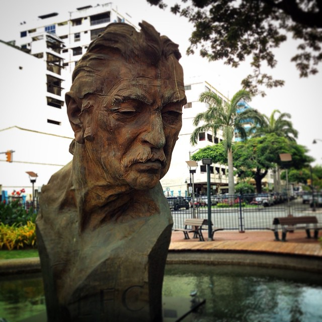 Bust of poet and first mayor of #Guayaquil #Ecuador José Joaquín de Olmedo along the Malecón 2000.