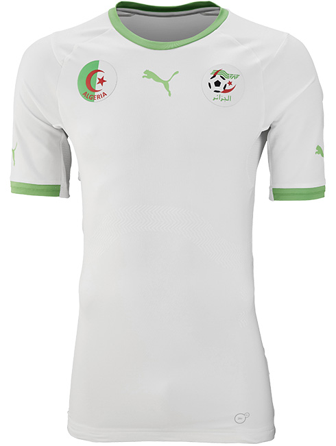 Algerian team home jersey. Source:  Footy Headlines .