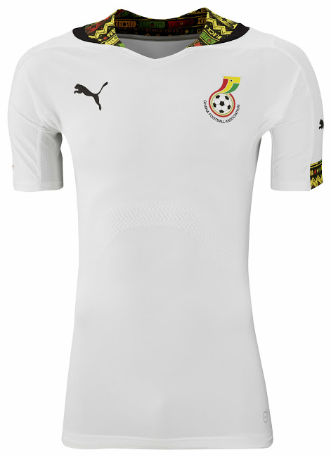 Ghanian team home jersey. Source:  Footy Headlines .