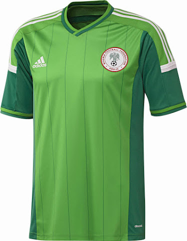 Nigerian team home jersey. Source:  Footy Headlines .