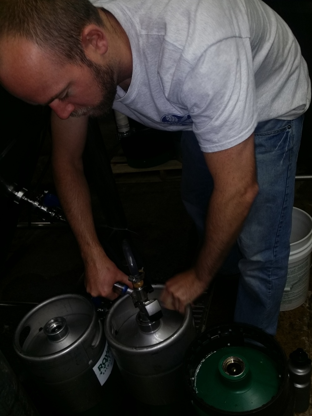 Chris kegging the Dark Horse...it's galloping right into the kegs