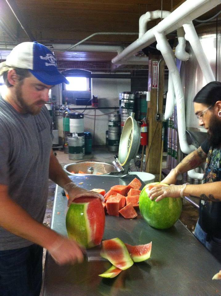 Rotz and Berto cutting up for watermelon for Lovitz Watermelon Lager