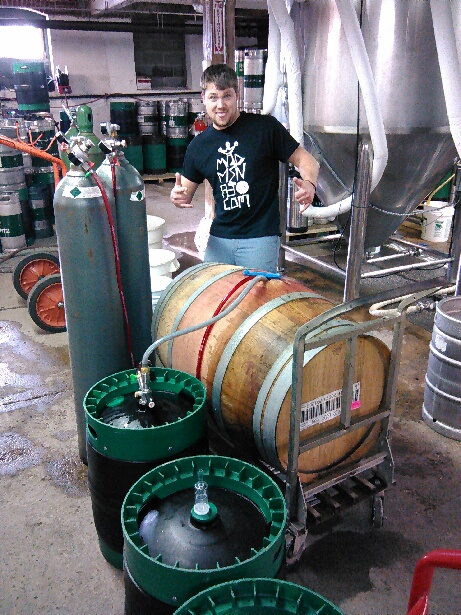Roy is obviously excited to be filling a fresh Merlot oak barrel with Ludwig's Revenge.  Shout out to Mad Men too!