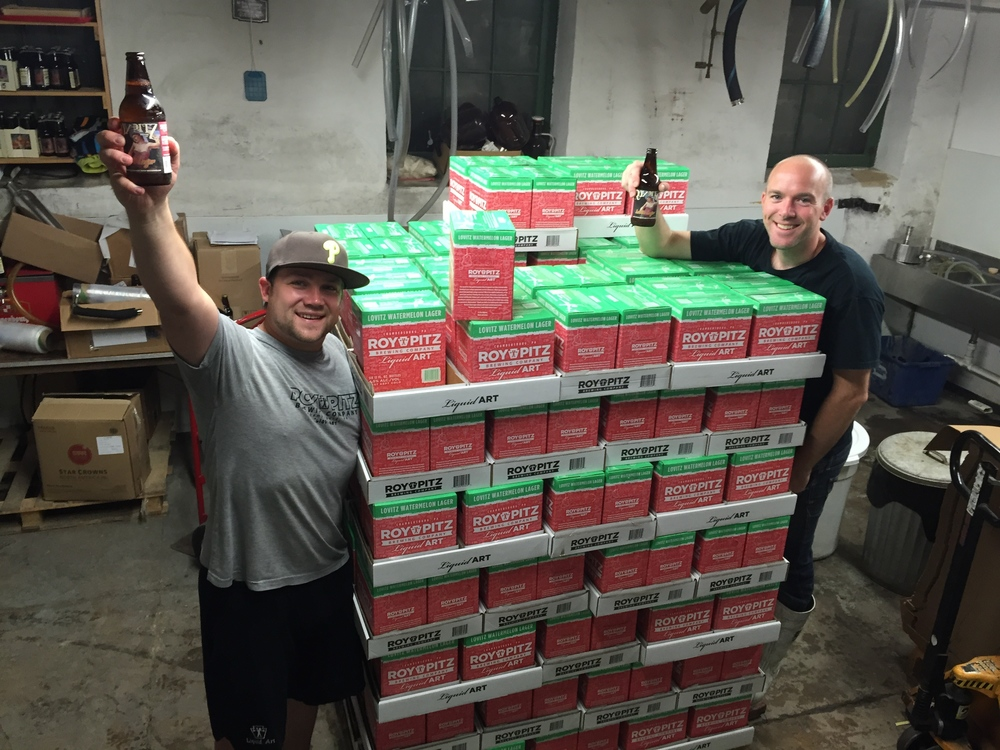 Roy and Chris enjoying the new 6-pack/12-pack boxes and cases of Lovitz Watermelon Lager. Keep an eye out for our new packaging and updated branding!!