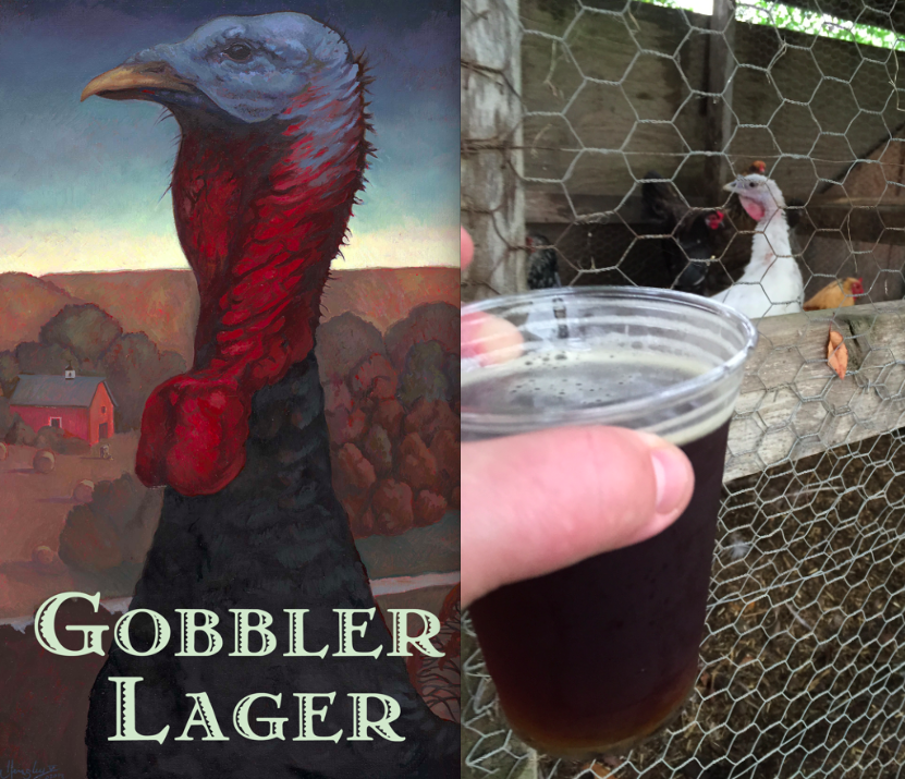 Drinking some Gobbler Lager with our friends