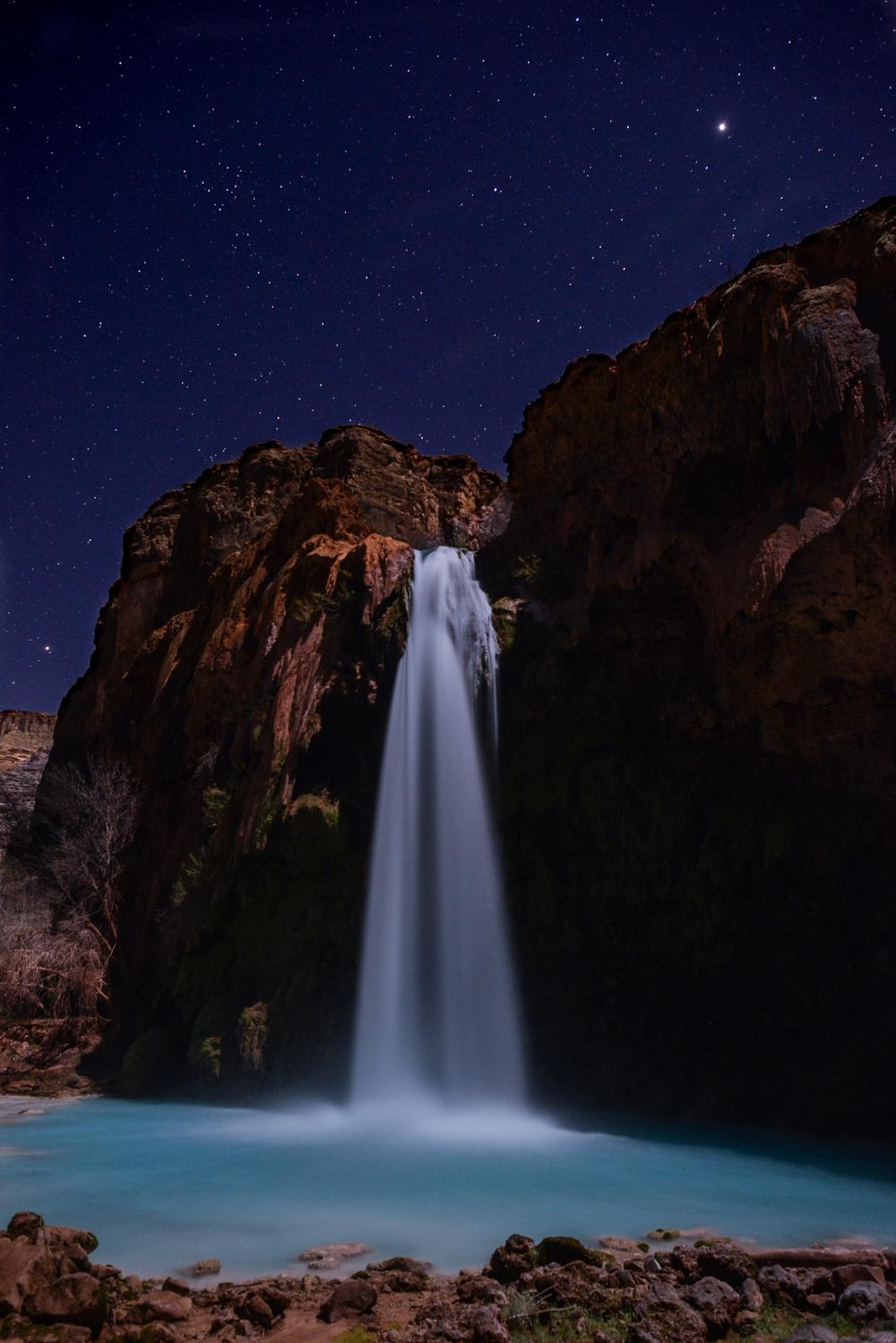 havasu falls glows in the moonlight - photo by jesse weber