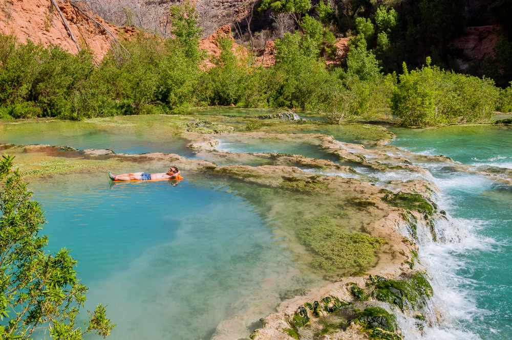 floating in the pools above little navajo falls - photo by jesse weber