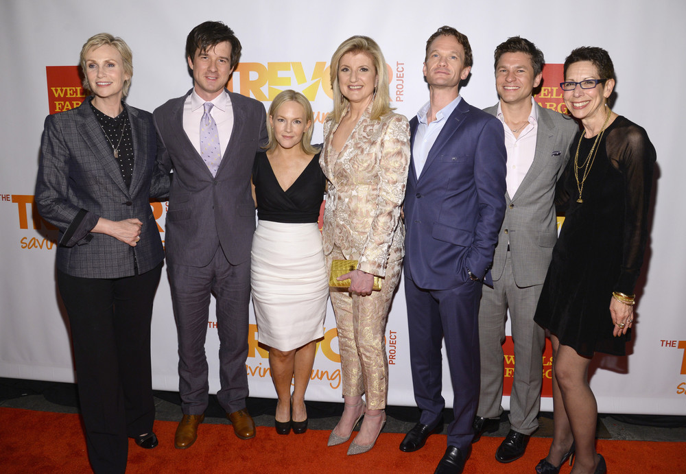 Jane Lynch, Christian Hebel, Rachael Harris, Arianna Huffington, Neil Patrick Harris, David Burtka, Abbe Land on Red Carpet at TrevorLive June 16, 2014.             Photo credit: Dave Kotinsky
