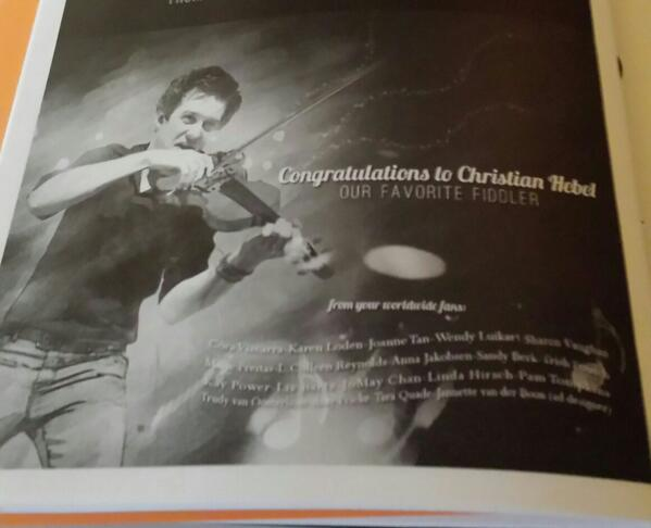 Ad for Christian Hebel for his performance as Fiddler in Fiddler at 50 Gala Event from his worldwide fans.  Photo by pisceslikejosh