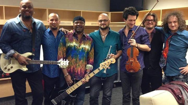 With The Josh Groban Band (L-R) Tariqh Akoni; Dave DiCenso; Andre Manga; Daniel Rosenboom; Christian Hebel; Pet Korpela; Ruslan Sirota. Photo from FaceBook