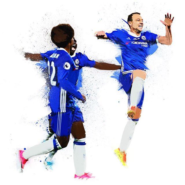 #johnterry celebrates his last goal for #chelseafc #football #illustration