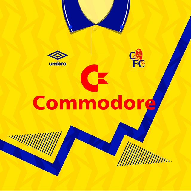 1991-93 #chelseafc 3rd Kit. Probably considered a @umbroukofficial Template Kit (Everton had the same), but the patternwork is no less impressive. #footballshirt #footballculture #design #yellow