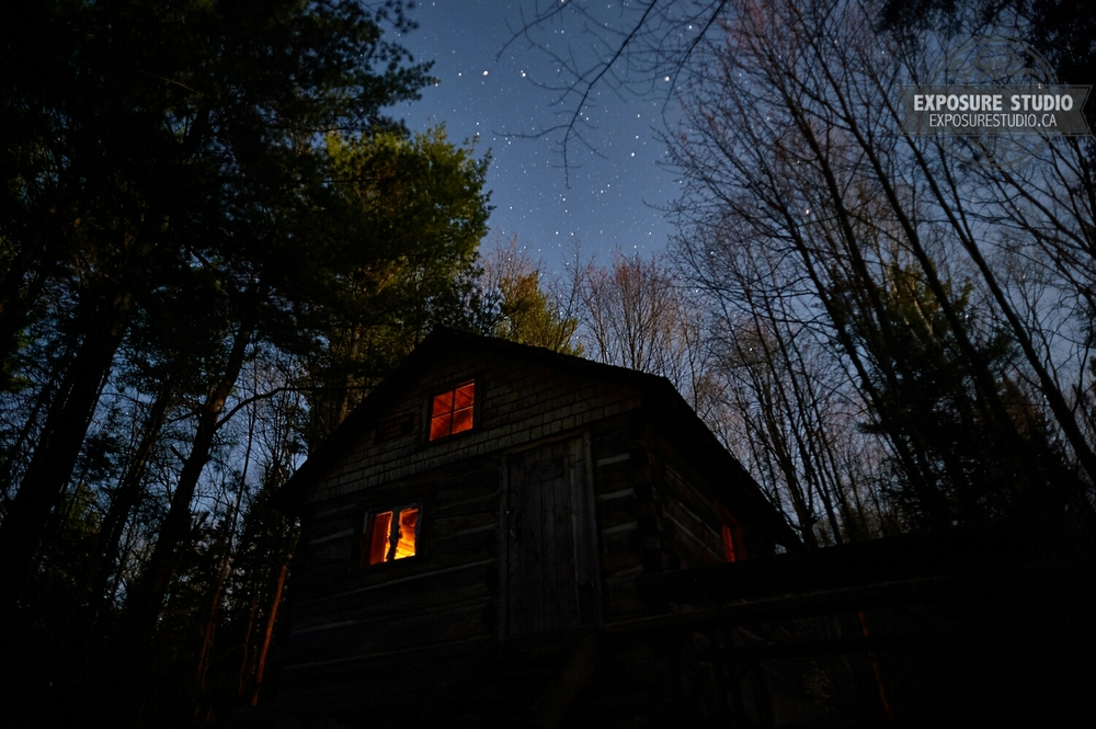 Lost Coin Lake ranger cabin under the stars