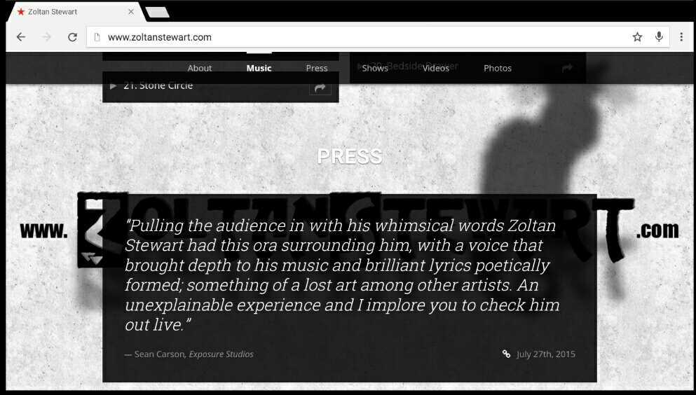 A clip from  my original EppingFest blog entry  being used on  Zoltan Stewart's  website