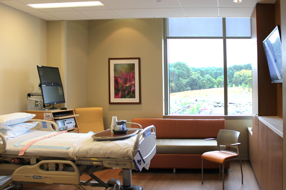One of the patient rooms at the new Holy Cross Germantown Hospital. Each patient room has a framed piece of photography.