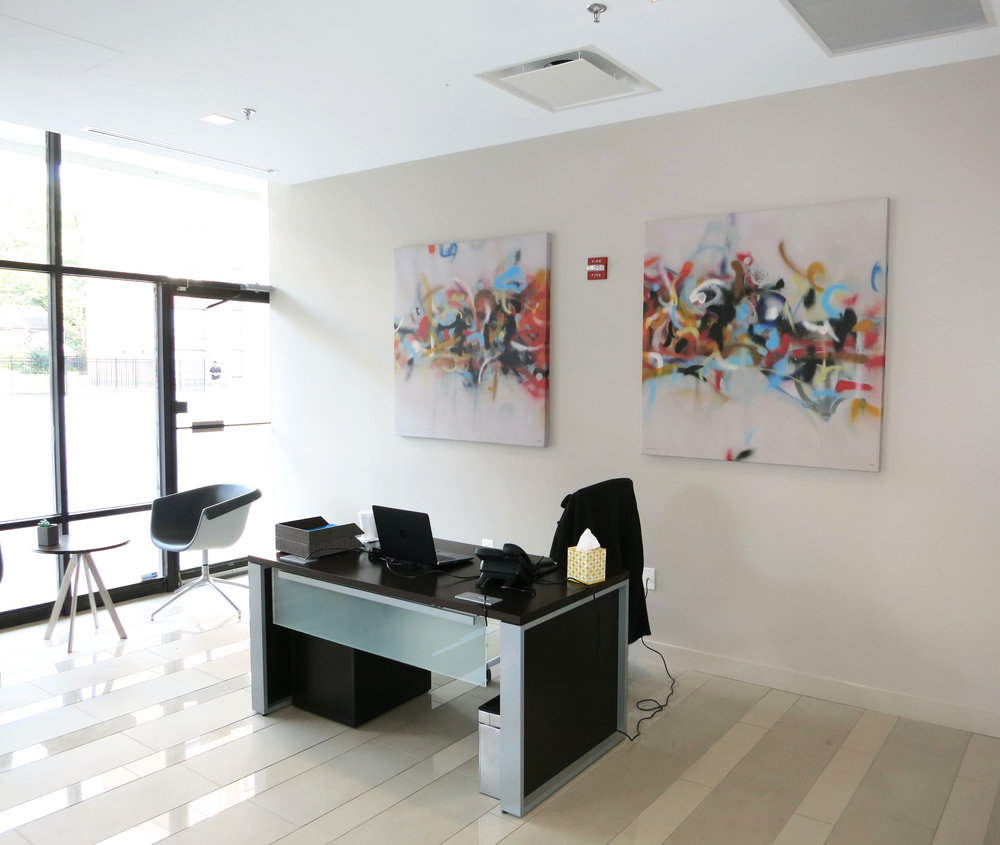 These fun, graffiti-esque pieces greet residents and visitors in the lobby.