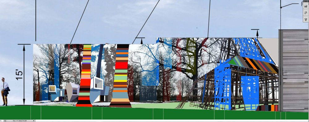 Sculptural proposal for a soundwall at a development in Rockville, MD. The artist uses recycled aluminum panels to create dimensional wall sculptures that can be installed in interior or exterior spaces. This piece balances Rockville's present with the past - the old barn harkens back to the town's history as a farming community while the contemporary construction alludes to Rockville's new center as a business and cultural hub of the DMV.