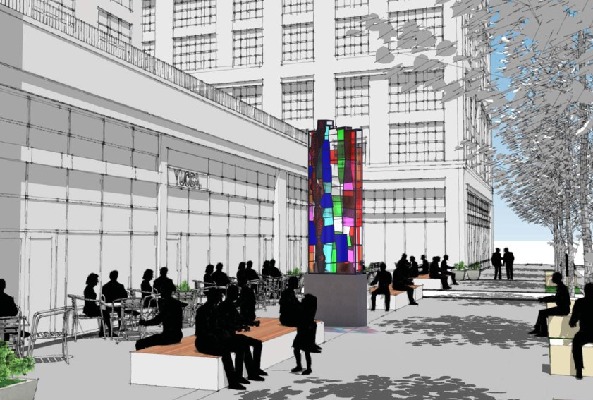 Glass tower on proposal in Old Town, Alexandria. The artist was inspired by a lime kiln found in archaeological surveys of the site. The bright, colored glass will provide a contemporary take on a historical object.