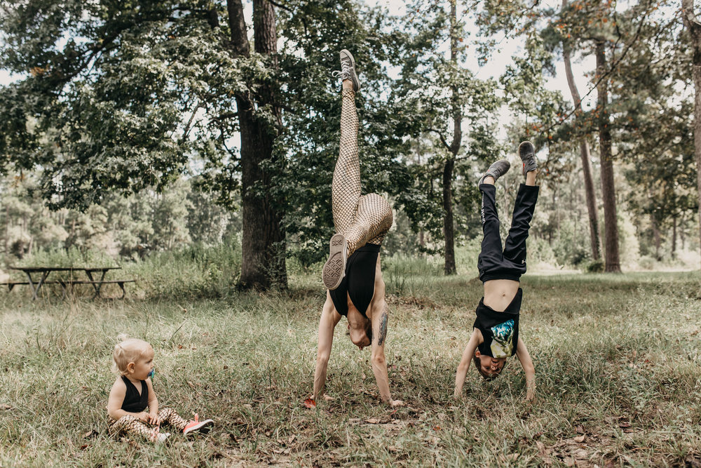 Milam can handstand just like his mama.