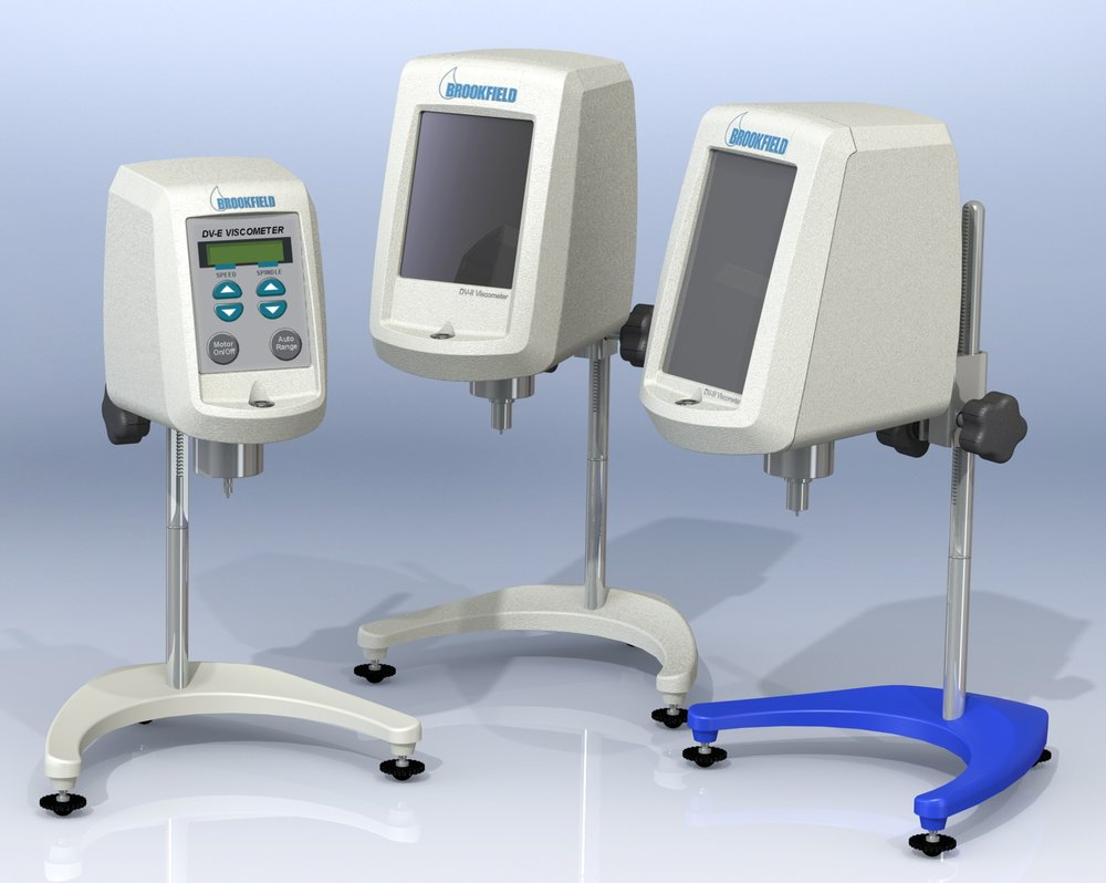 Three of the five models of the re-designed Brookfield Viscometer family