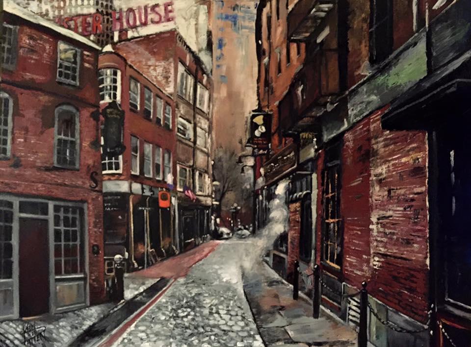 """""""Boston Blackstone Block"""" 36 x 48 Inches, Oil on Canvas"""