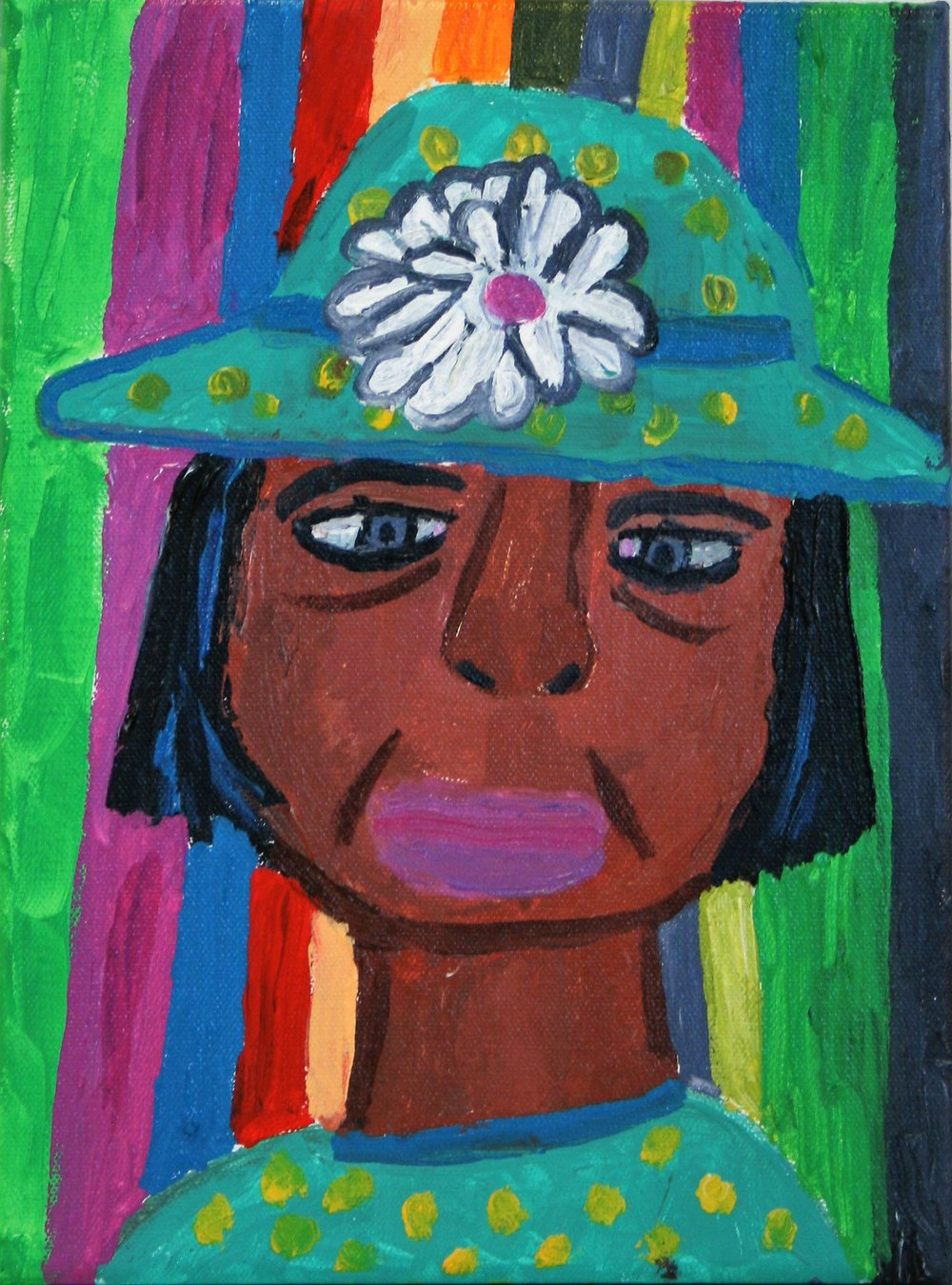 "Cornelious Brackens, Jr. ""Turquoise Outfit With Purple Lipstick"" 9 x 12, $85"