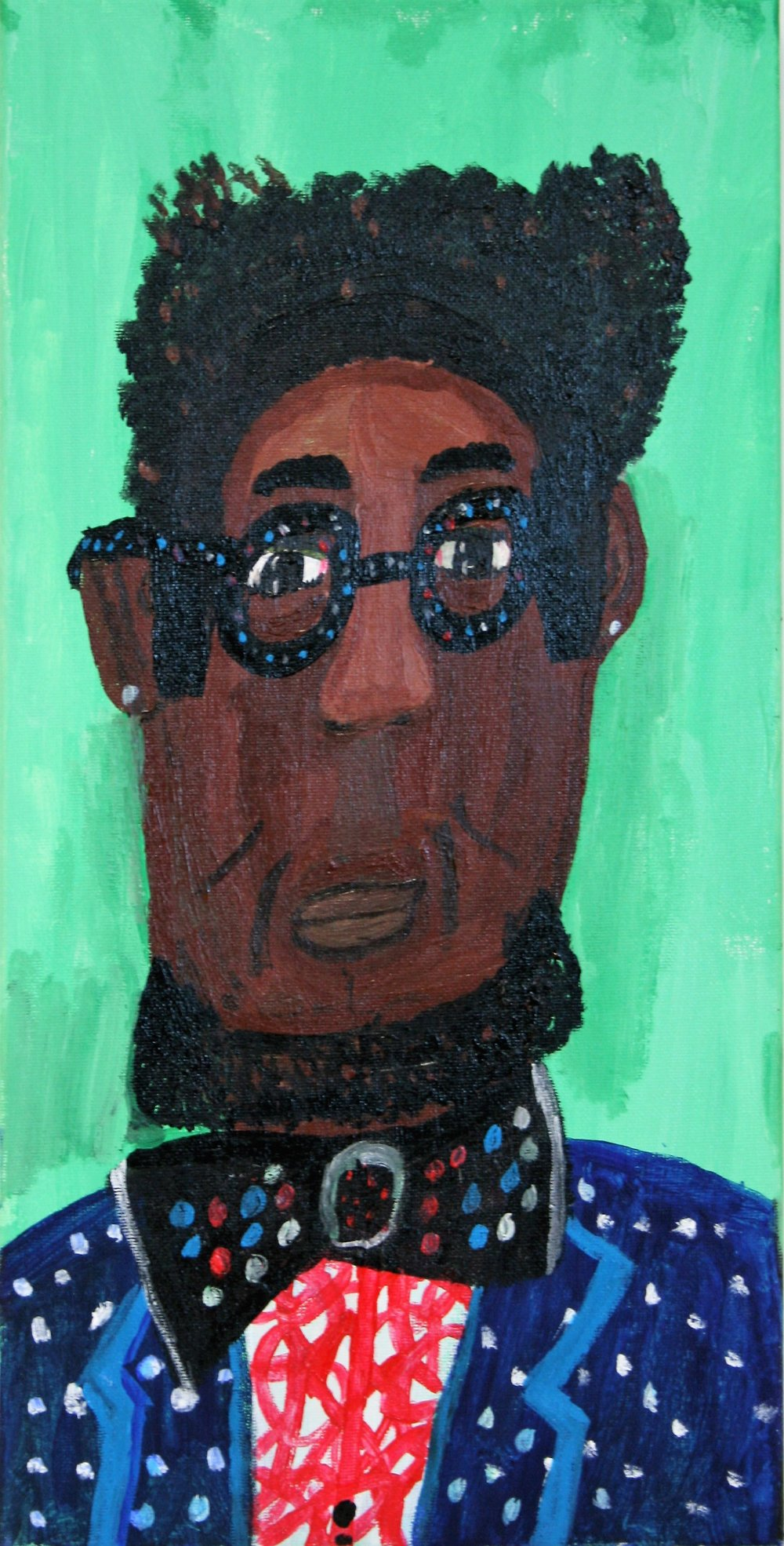 "Cornelious Brackens, Jr. ""The Man Who Loves Polka-Dots"", 10 x 20, $115"