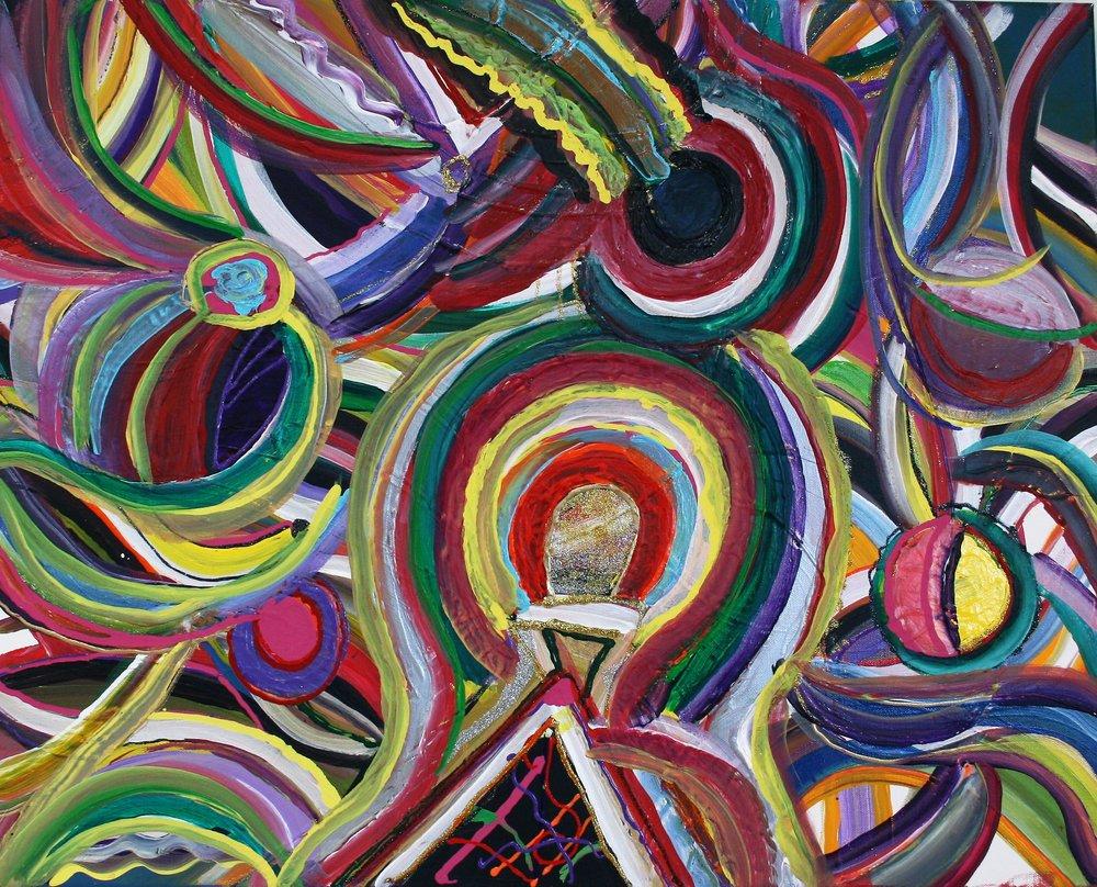 "Lee C. Albritton, ""Kaleidoscope Tunnel"" 24 x 30, $225"